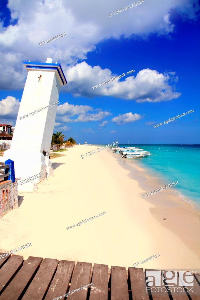 Stock Photo: lighthouse Puerto Morelos inclined due hurricane Caribbean Beach.