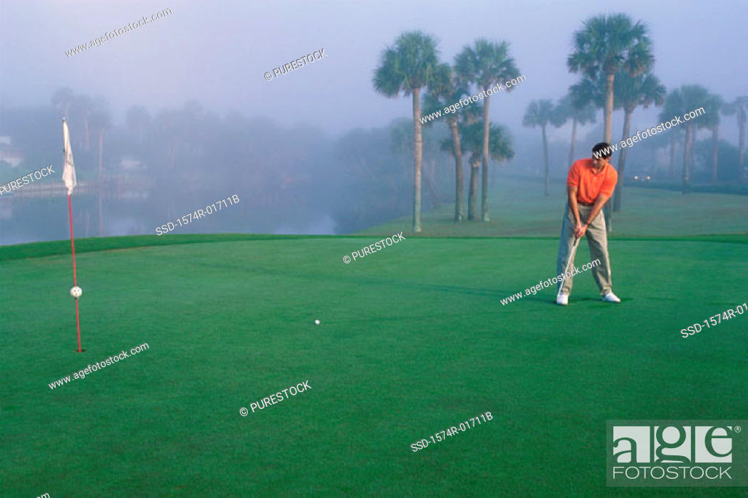 Stock Photo: One man playing golf.