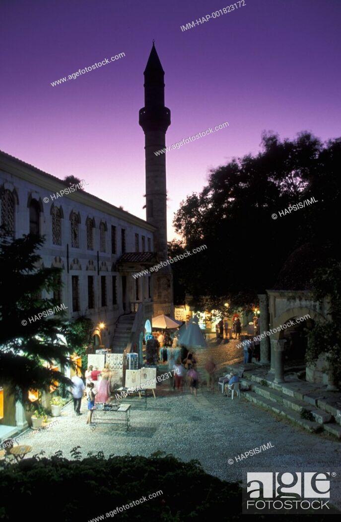 Stock Photo: Kos Town, Platanou Square fountain of the Loggia Mosque, dusk  Kos, Dodecanese, Greece.