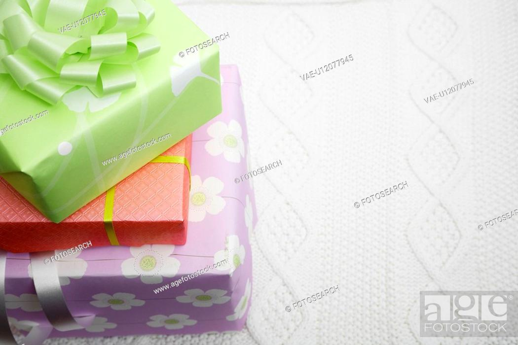 Stock Photo: Stack of gifts close-up.