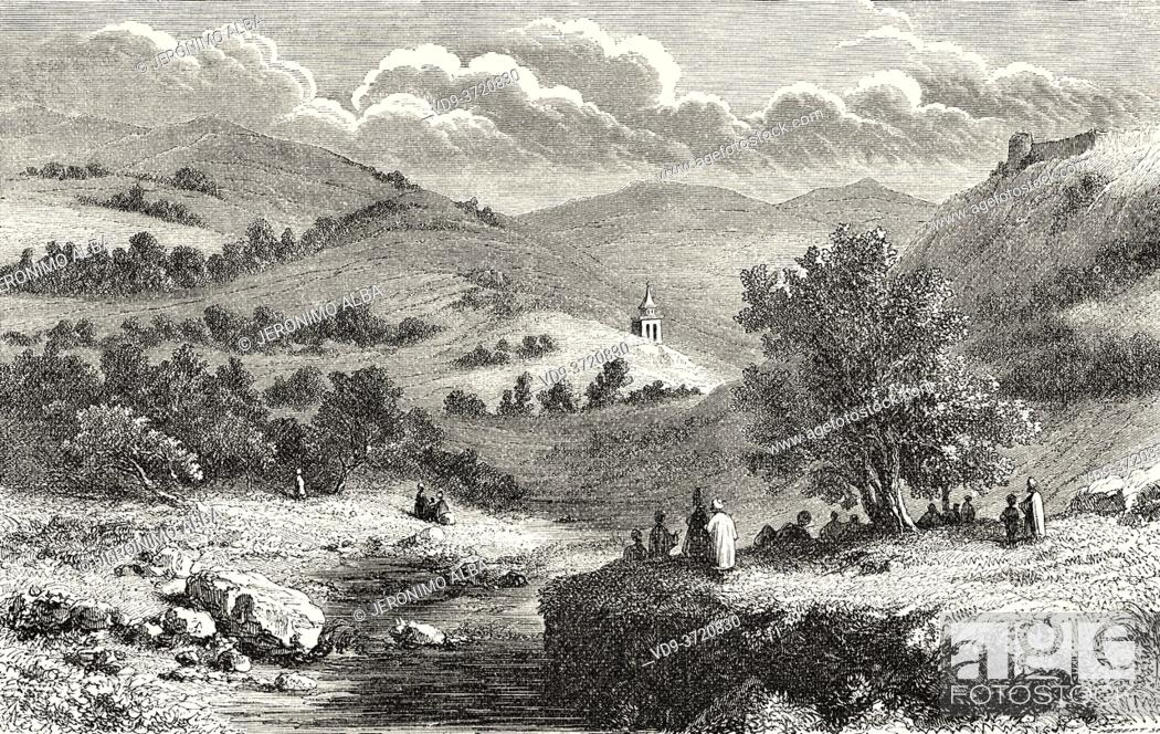 Stock Photo: Valley of Jehoshaphat or Valley of Josaphat, Israel. Old 19th century engraved illustration Travel to Jerusalem by Alphonse de Lamartine from El Mundo en La.
