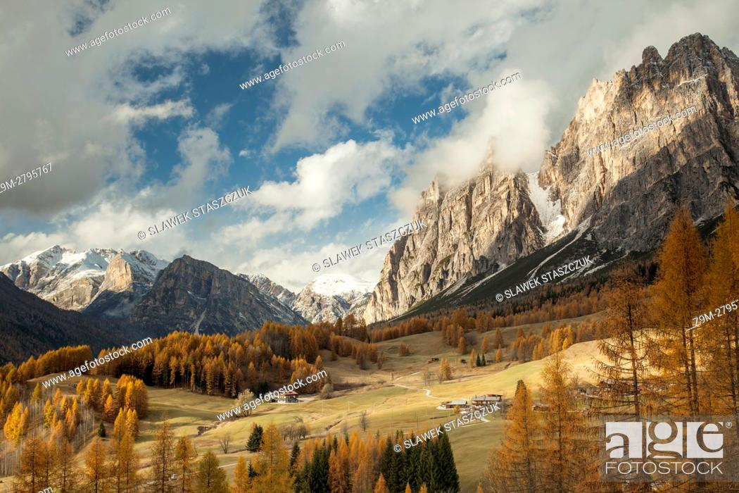 Imagen: Autumn afternoon on an alpine meadow near Cortina d'Ampezzo, Dolomites, Italy.