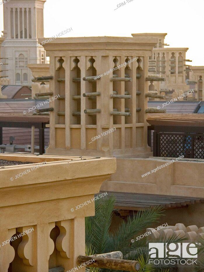 Stock Photo: Traditional Arabian Windtower in Madinat Jumeirah, Dubai, UAE.