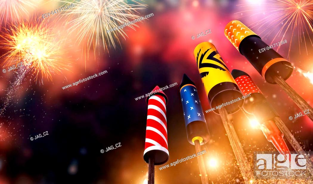 Stock Photo: Bottom view of fireworks rockets launching into the sky, free space for text. Concept of celebration and New Years Eve. 3D render of rockets.