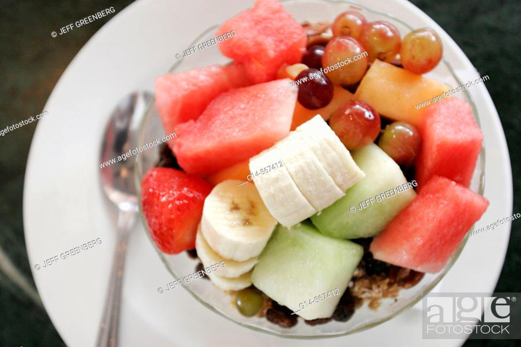 Stock Photo: Fruit bowl. News Café, Miami Beach, Florida. USA.