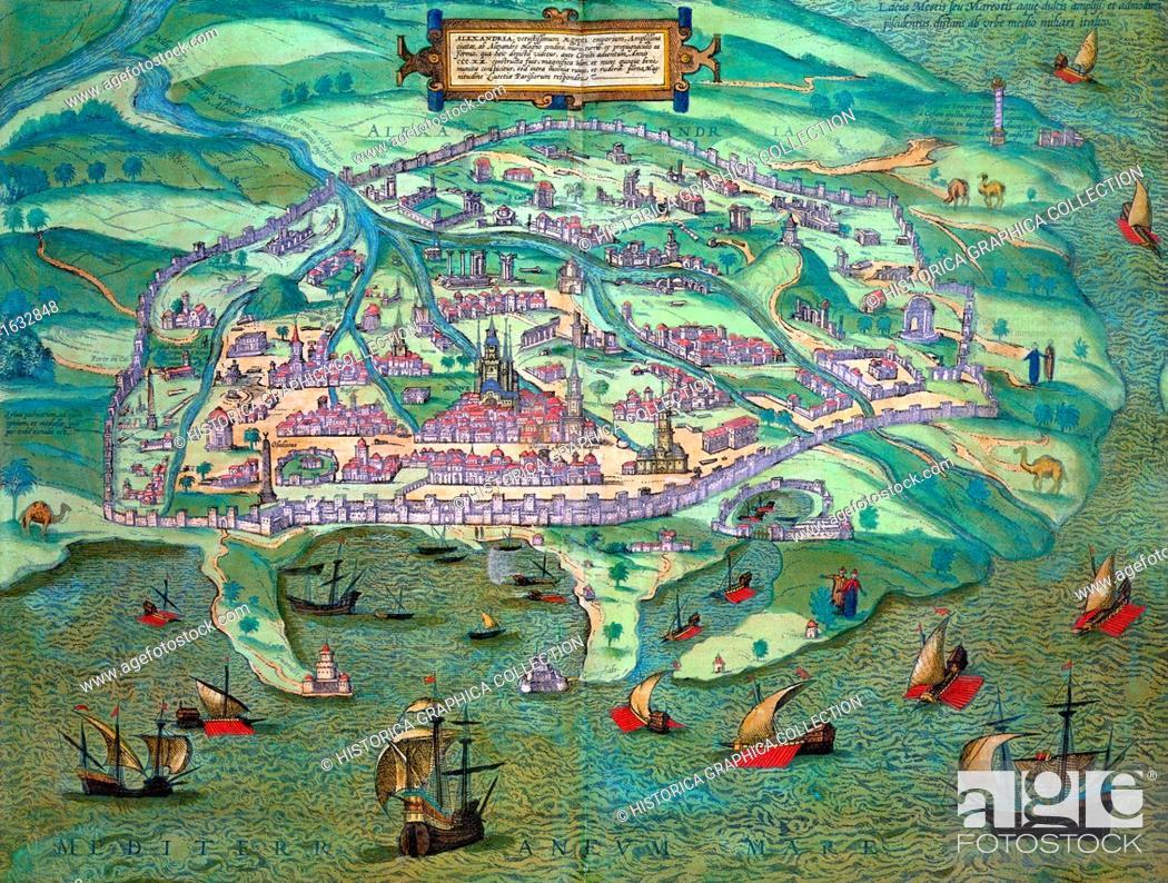 Map of Alexandria, Egypt, c1572. From Civitates Orbis Terrarum by ...