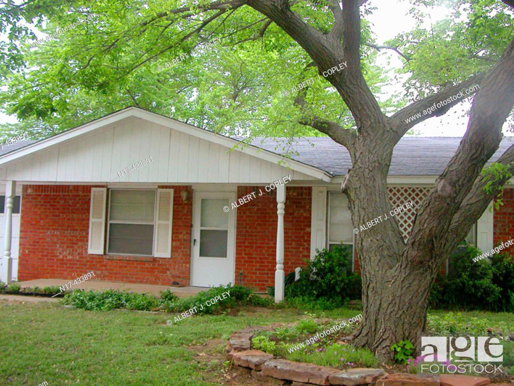 Stock Photo: Small brick house. Oklahoma, USA.