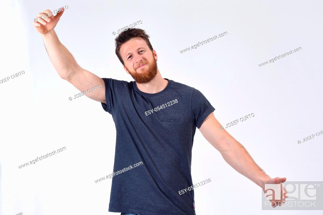 Photo de stock: man hugging on white background.