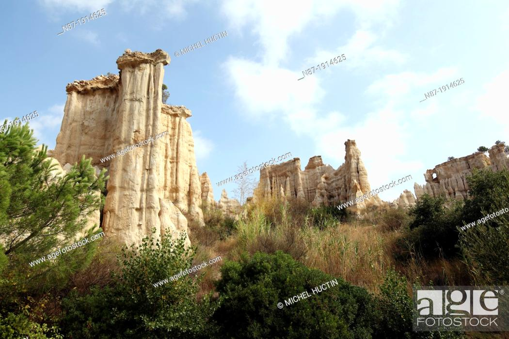 Stock Photo: Les Orgues rock formations, Arles-sur-Tech, Pyrenees-Orientales, Languedoc-Roussillon, France.