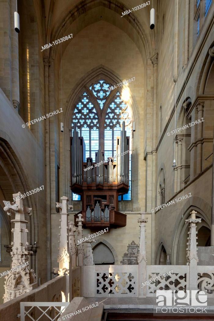 Stock Photo: Germany, Saxony-Anhalt, Magdeburg, Magdeburg Cathedral, view from the rood screen on the organ of paradise, also called the Swallow's Nest organ.