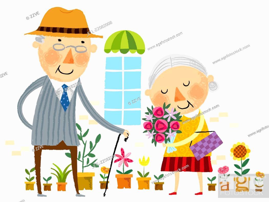 Stock Photo: Elderly man showing love for elderly wife.