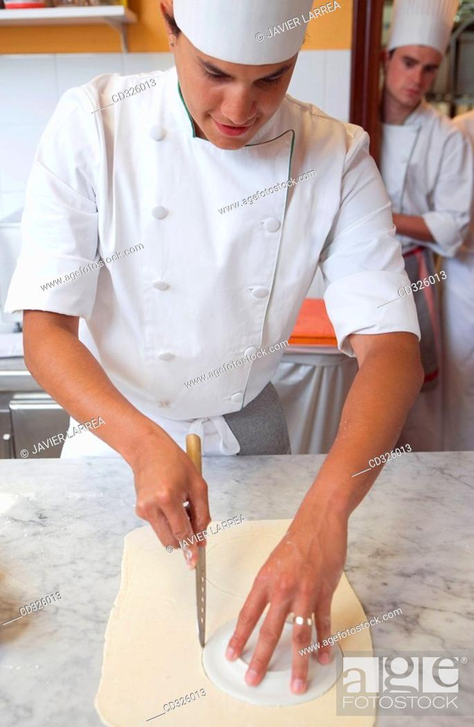 Stock Photo: Cutting puff pastry. Luis Irizar cooking school. Donostia, Gipuzkoa, Basque Country, Spain.