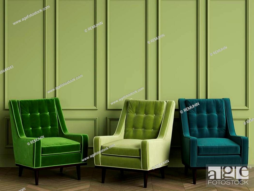 Stock Photo: 3 Green armchairs in classic interior with copy space. Green walls with mouldings. Floor parquet herringbone. Digital Illustration. 3d rendering.