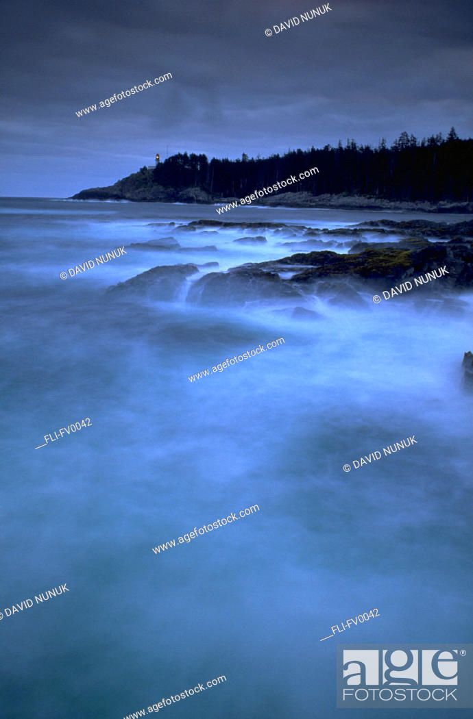 Stock Photo: Coastline at dusk, Langara Island, Queen Charlotte Island, BC.