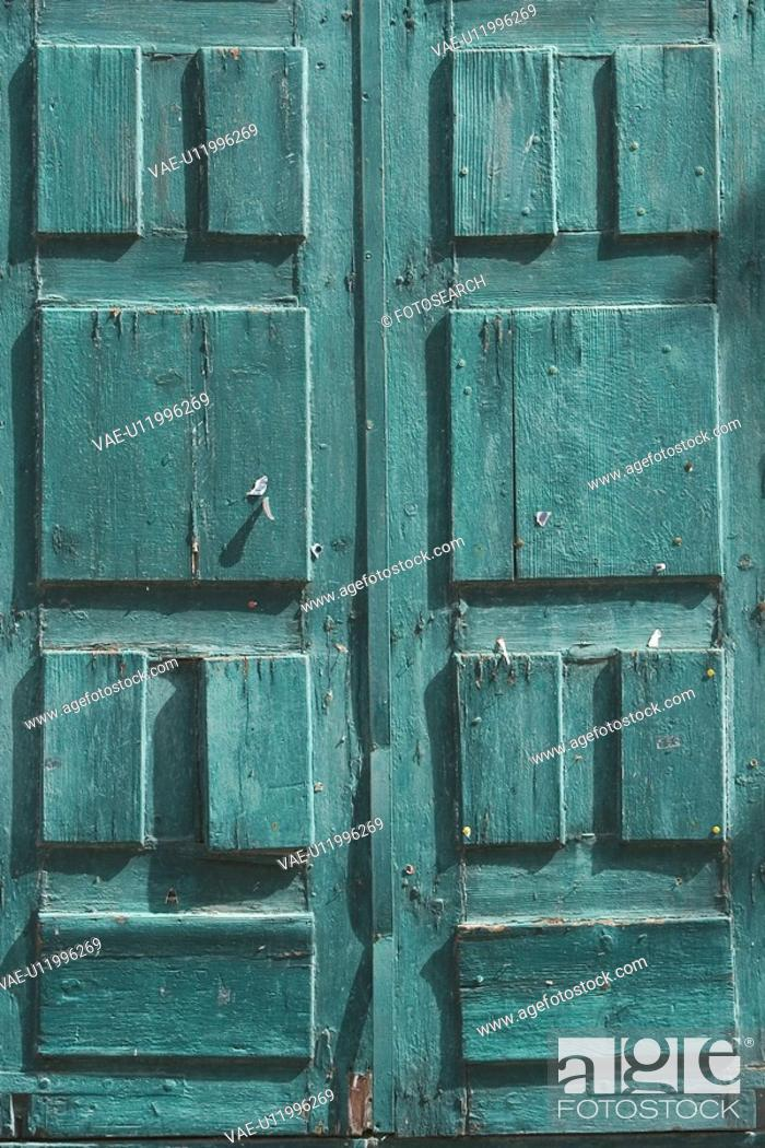 Stock Photo: Closed, Close-Up, Damaged, Day, Door.