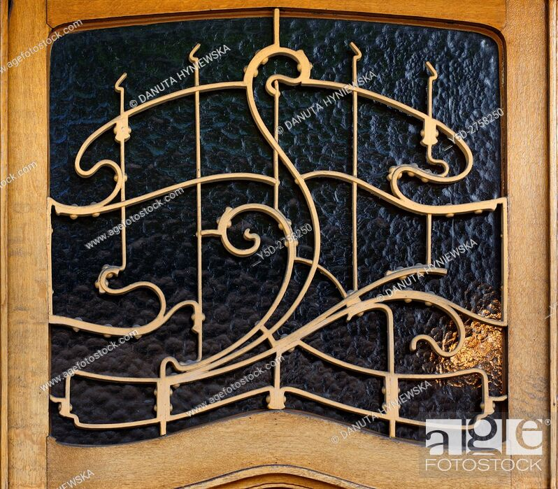Imagen: architectural detail part of entrance door - Art Nouveau Victor Horta's own house and atelier designed in late 1890s, together with three other town houses -.