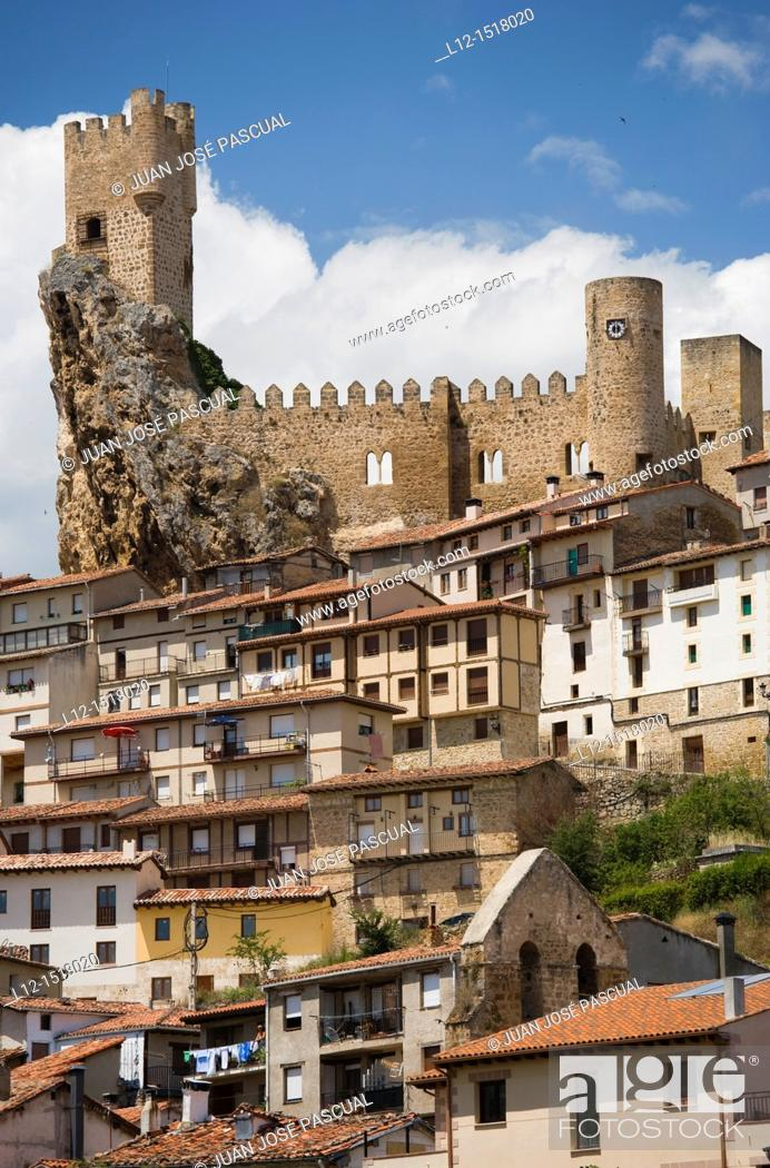 Stock Photo: Frias  View of the village and the castle, Burgos province, Castille-Leon, Spain.