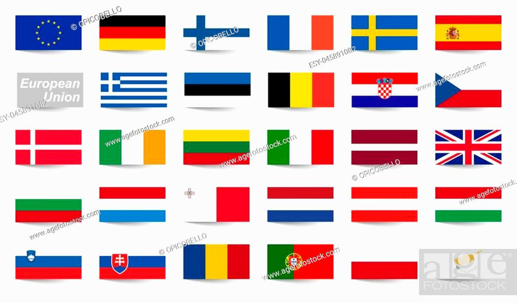 Stock Vector: collection of flags from all national countries of European Union.
