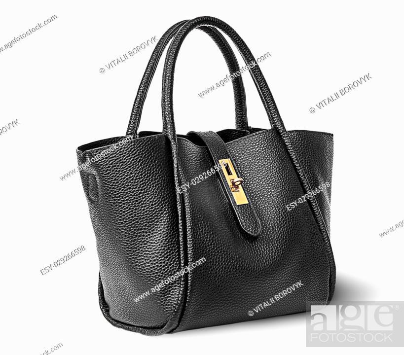 Stock Photo: Black elegant leather ladies handbag rotated isolated on white background.