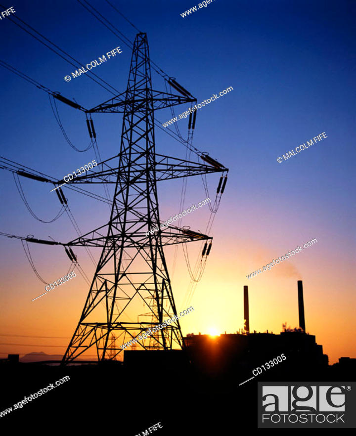 Stock Photo: Electricity Pylon and coal-fired power station. East Lothian. Scotland.
