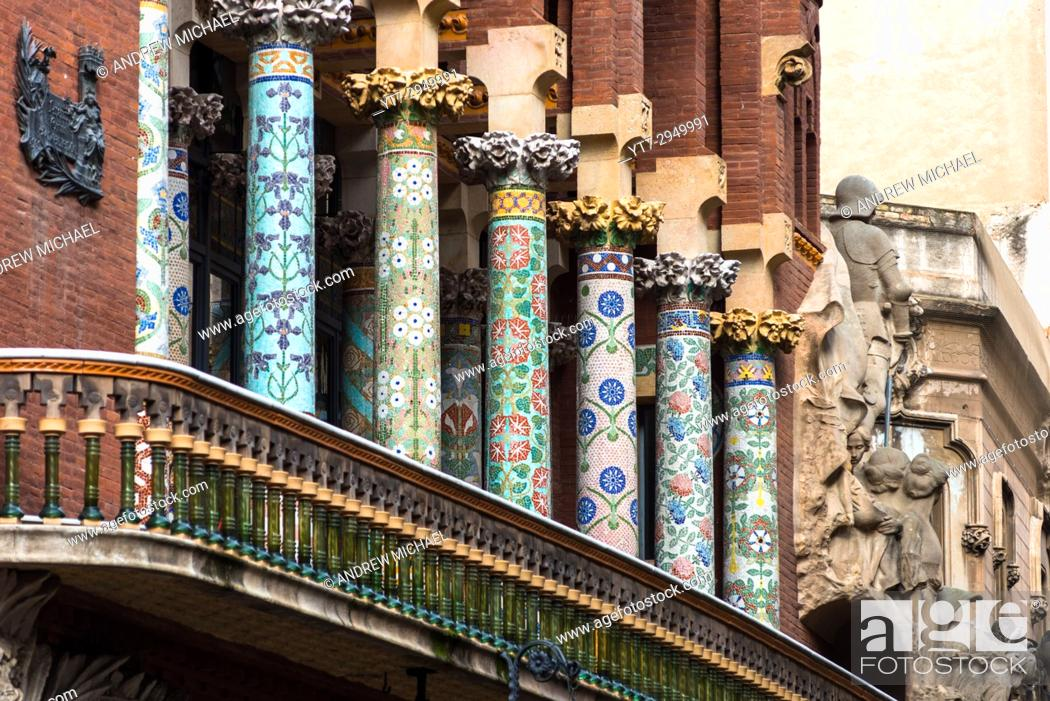 Stock Photo: Barcelona in Catalonia, Spain. Palace of Catalan Music (Palau de la Musica Catalana) outdoor detail.
