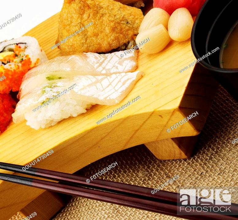 Stock Photo: miso soup, plate, chopstciks, decoration, food styling, roll sushi, sushi plate.