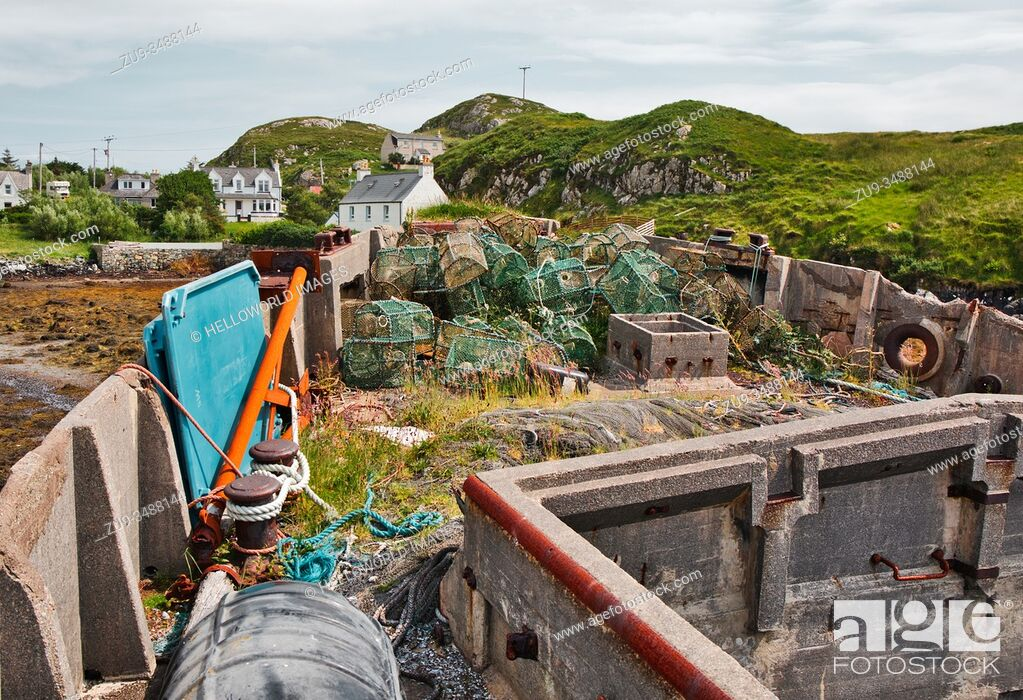 Stock Photo: Concrete barge ship Cretetree now abandoned on the Isle of Scalpay, Outer Hebrides, Scotland. 180 feet long and built in Aberdeen in 1919 for hauling iron ore.