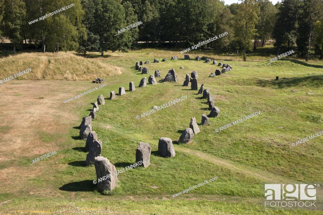 Stock Photo: Ship settlements / tomb, seen from Anundshög. The largest is 53 meters long and 16 meters wide. Sweden.