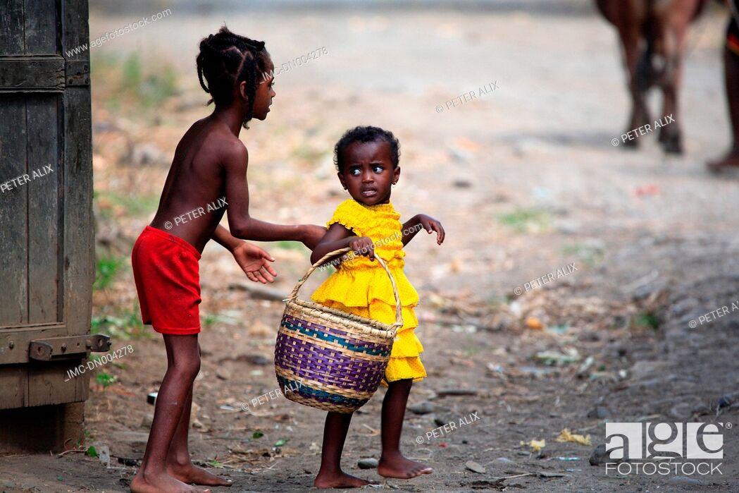 Stock Photo: Madagascar, near Diego Suarez, children.