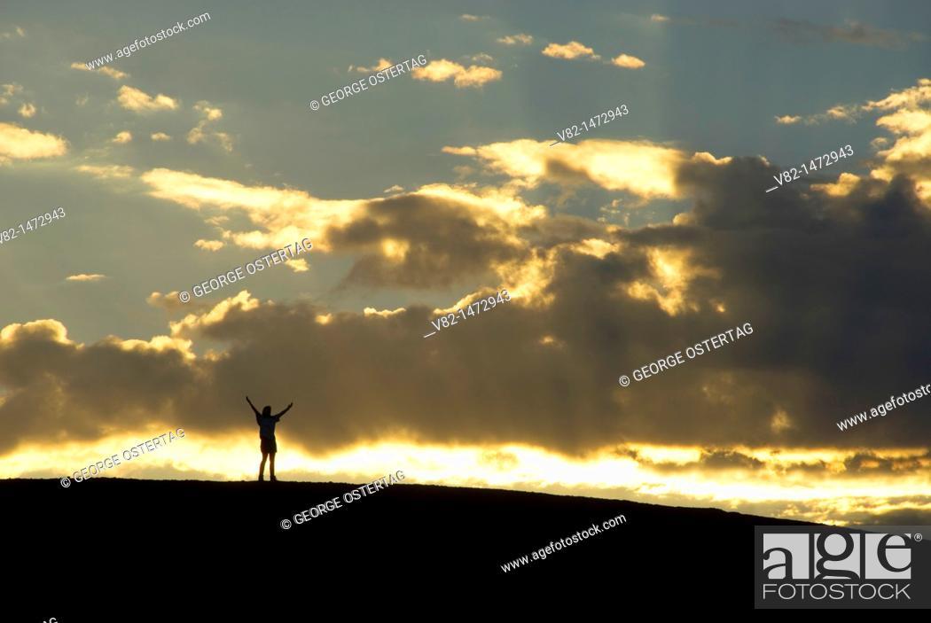 Stock Photo: Sunrise on Cinder Cone summit, Lassen Volcanic National Park, California, USA.