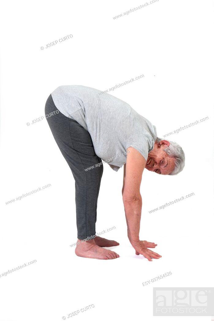 Photo de stock: Older woman exercising.