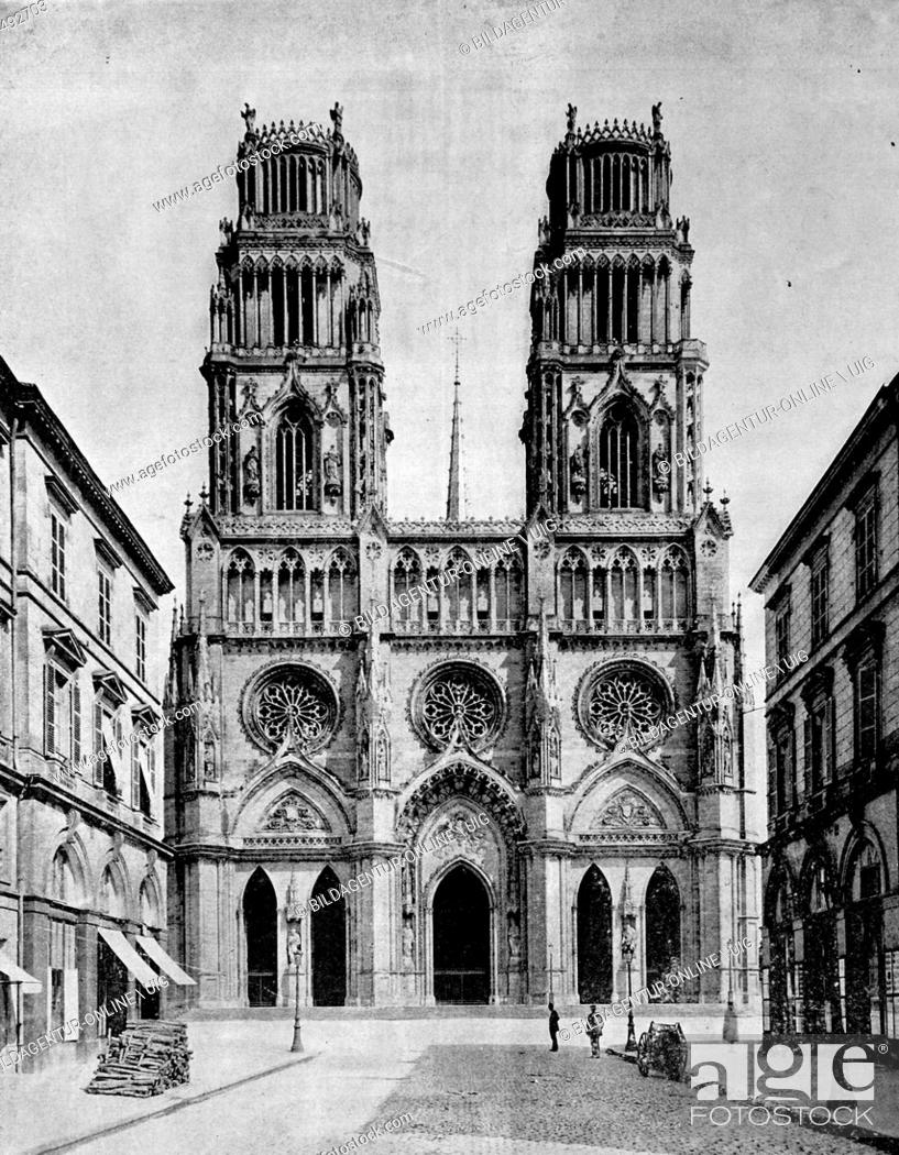 Stock Photo: Early autotype, cathedral of orleans, france, 1880.
