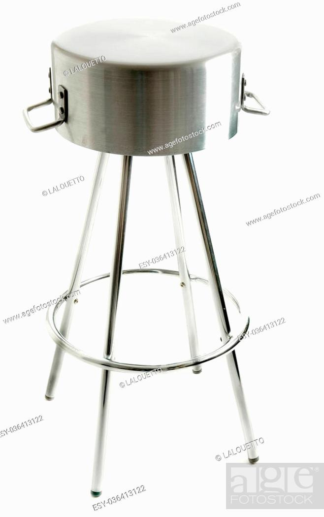 Stock Photo: saucepan metal stool with footrest, isolated on white.