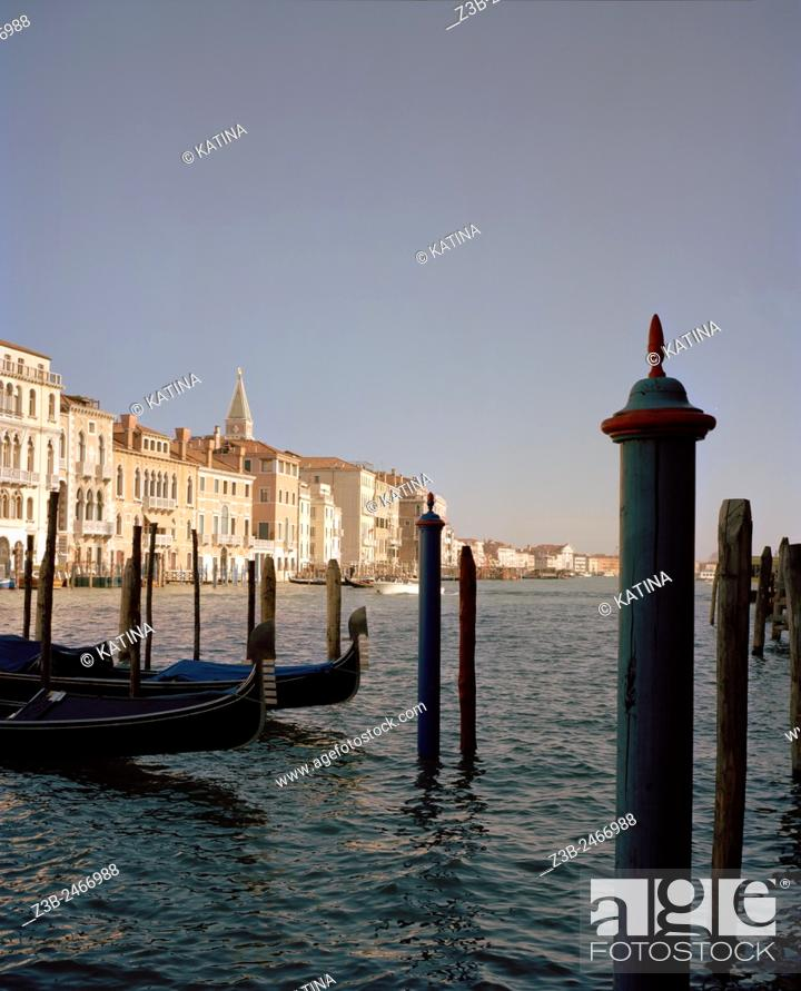 Stock Photo: The Grand Canal on a clear day in Venice, Italy, Europe.