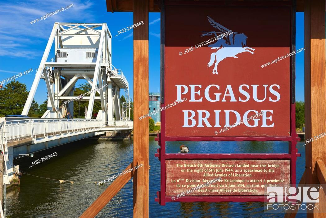 Stock Photo: Pegasus Bridge, Second World War, Caen Canal, Bénouville, D-DAY Landing Site, Basse-Normandie. Calvados Department, Normandy, France.