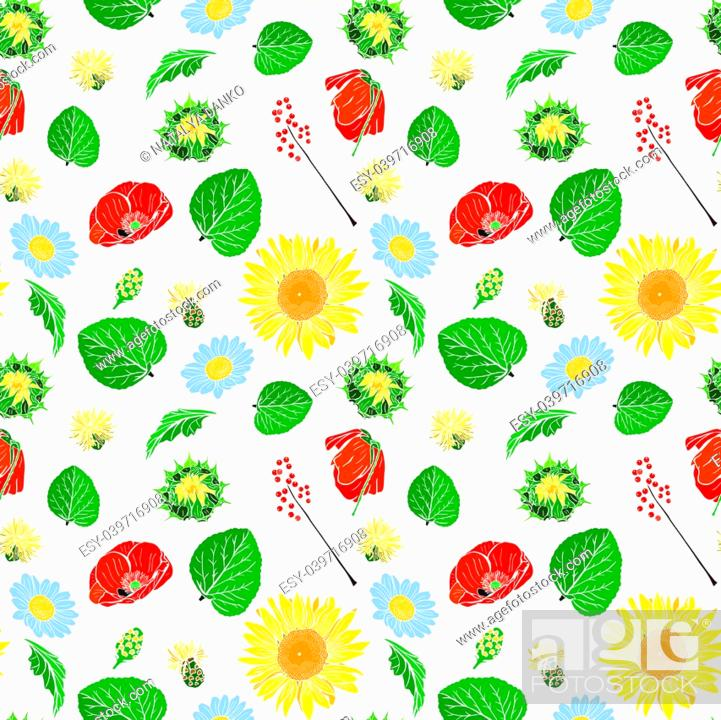 Stock Vector: poppy, sunflower, chamomile, green leaf and branch with berries seamless pattern isolated on white background.