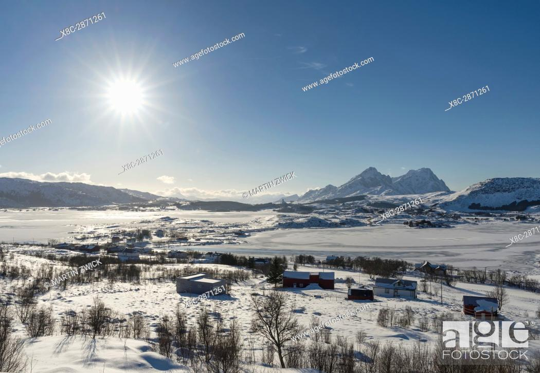 Stock Photo: Landscape near Leknes, island Vestvagoy. The Lofoten islands in northern Norway during winter. Europe, Scandinavia, Norway, February.