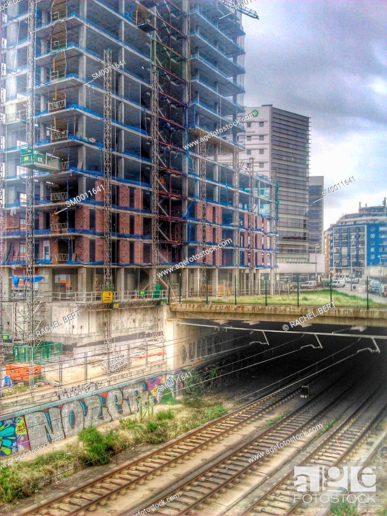 Stock Photo: Building under construction, 22@, Barcelona, Catalonia.