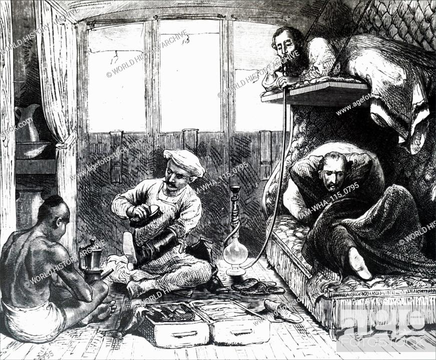 Engraving depicting the interior of an Indian train  Dated 19th