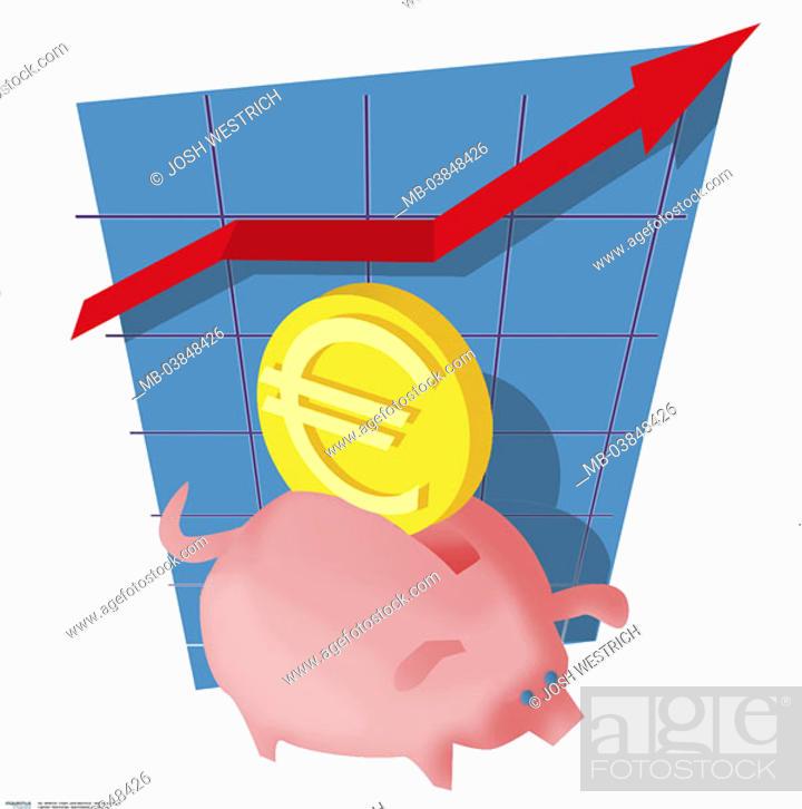Stock Photo Ilration Savings Pig Euro Coin Balance Curve Arrow Climbs Money Currency European Symbol Saving