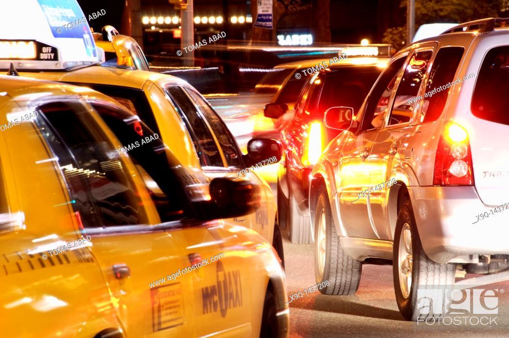 Stock Photo: Taxi cab, Broadway, New York City.