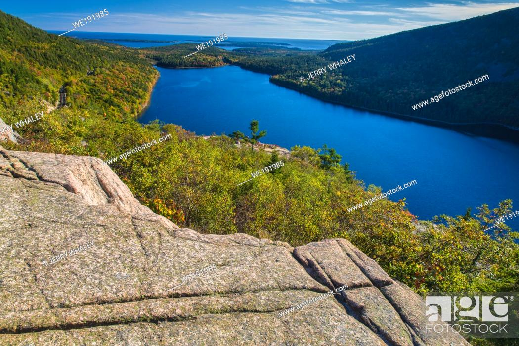 Stock Photo: South Bubble Trail in Acadia National Park on Mouint Desert Island, Maine.