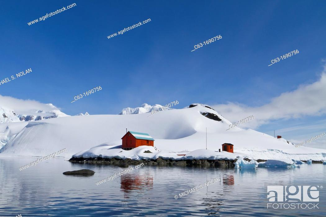 Stock Photo: View of the Argentine base Almirante Brown named after Guillermo Brown, the father of the Argentine Navy in Paradise Bay, Antarctica.
