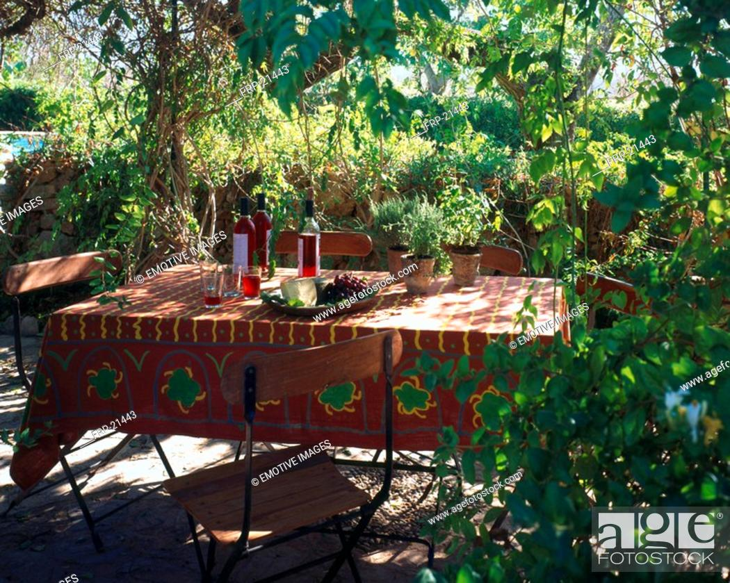 Stock Photo: Setted garden table.