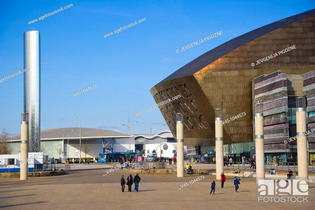 Stock Photo: Roald Dahl Plass. Public plaza, with The Water Tower and Wales Millennium Centre. Cardiff Bay. Cardif. Caerdydd. South Glamorgan. Wales. UK.