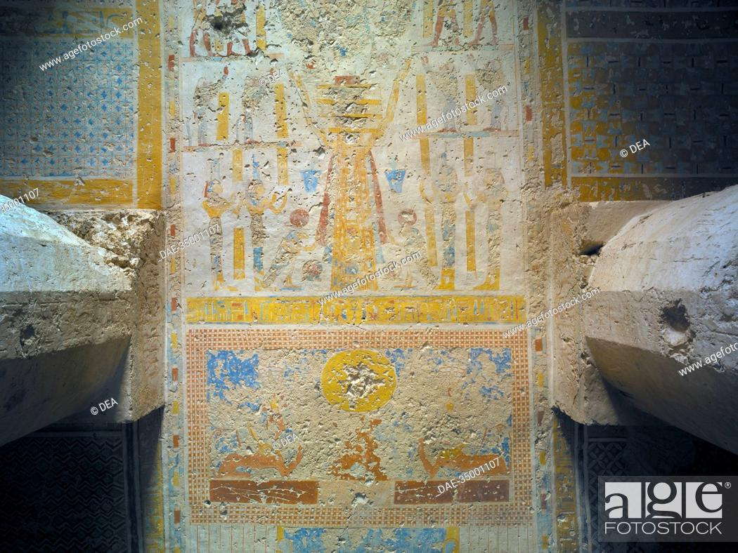 Stock Photo: Egypt, Thebes (UNESCO World Heritage List, 1979) - Luxor. Sheikh 'Abd al-Qurna. Tomb of temple scribes supervisor at Amon's estate Imyseba (former royal granary.