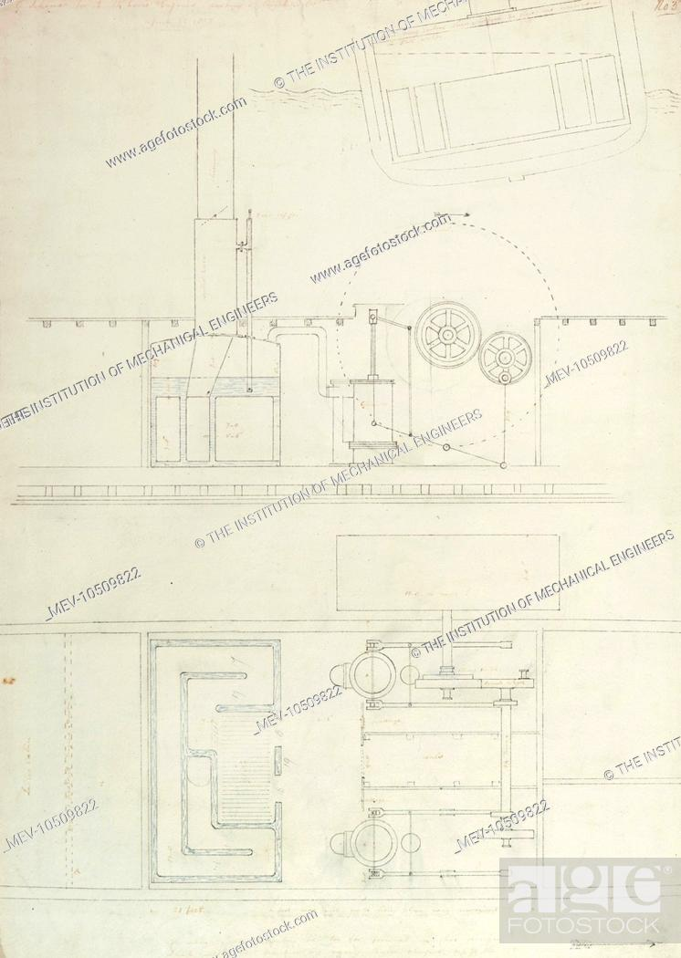 stock photo - caledonia steam yacht sketch, a scheme for two 14 horse  engines working at right angles