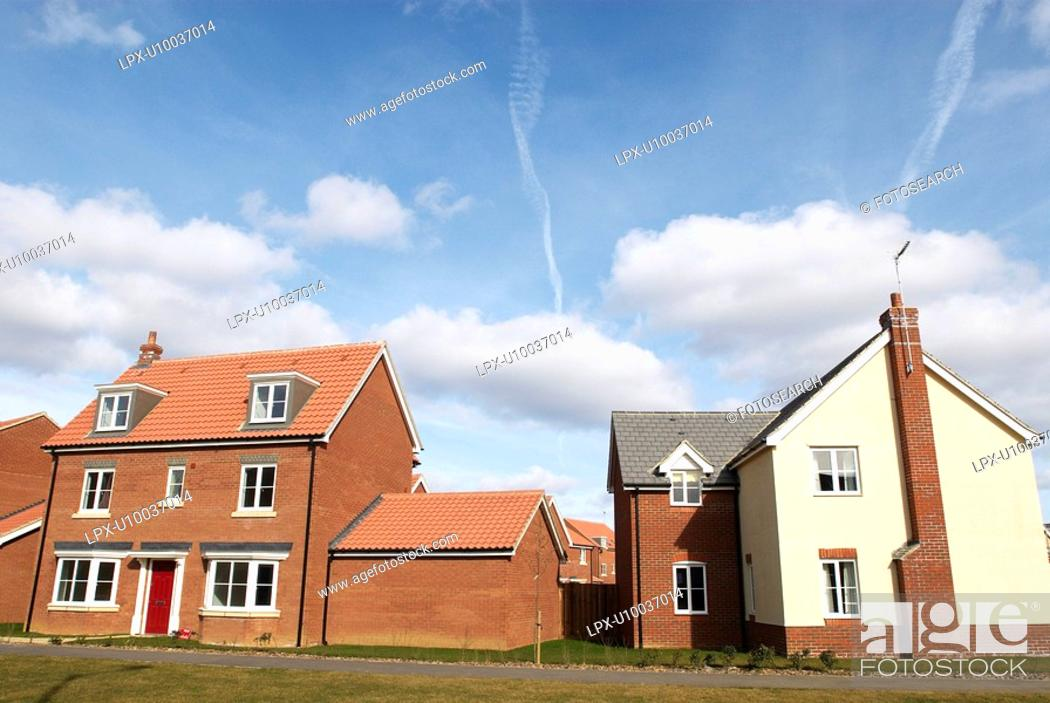 Stock Photo: New housing on an modern residential estate.