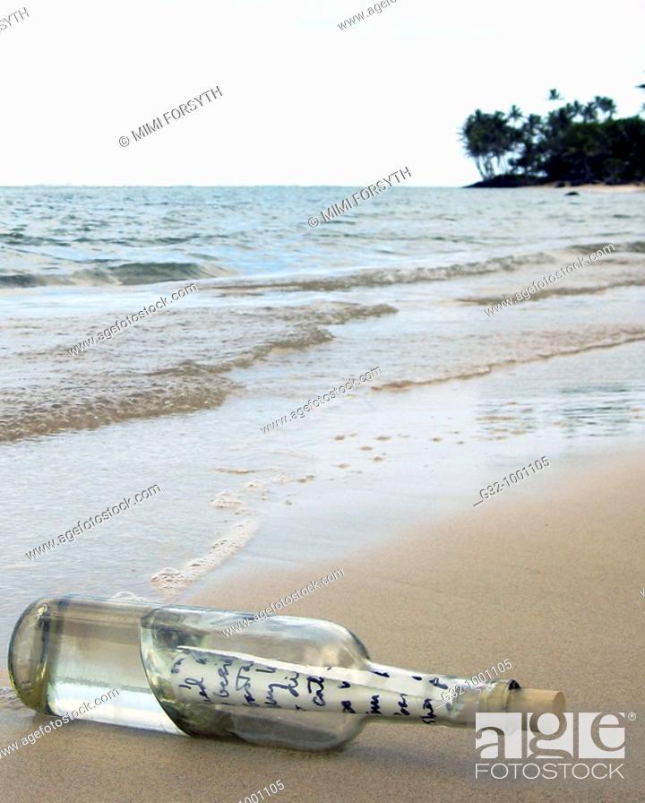Stock Photo: bottle washed ashore.