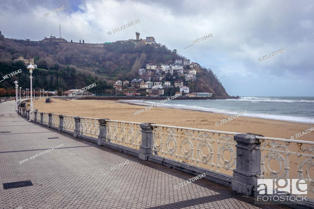 Stock Photo: Igeldo mountain and Ondarreta beach over La Concha Bay of Cantabrian Sea in San Sebastian coastal city located in the Basque Autonomous Community, Spain.